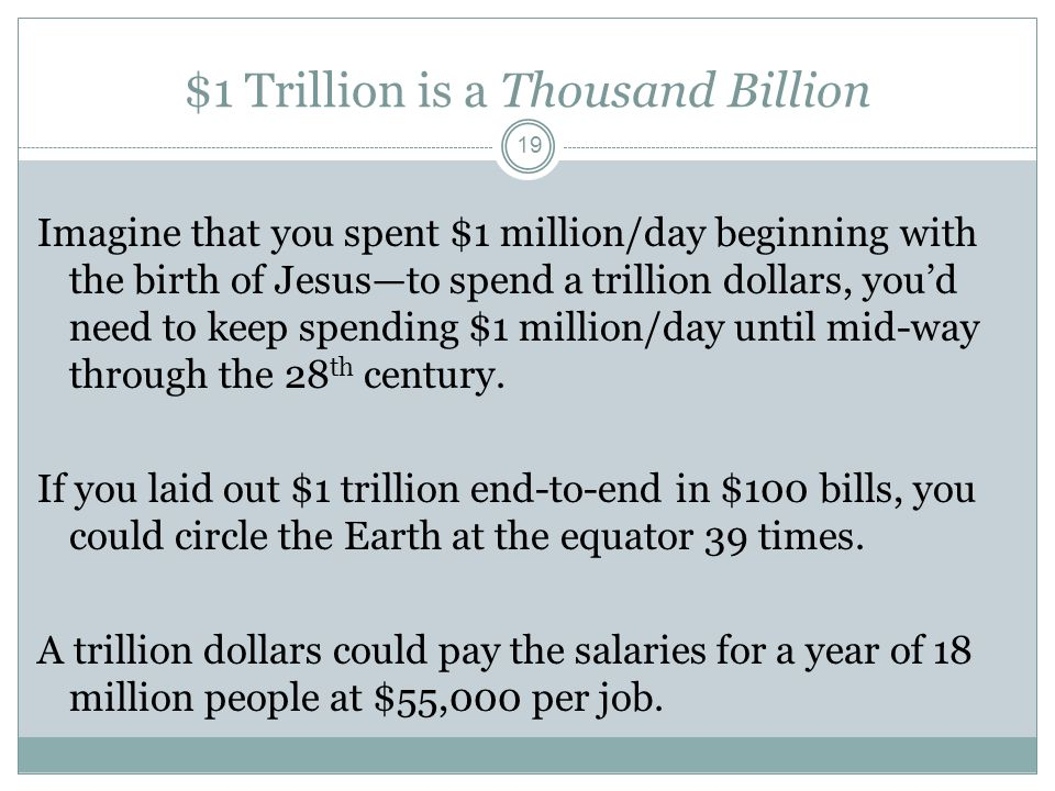 $1 Trillion is a Thousand Billion Imagine that you spent $1 million/day beginning with the birth of Jesus—to spend a trillion dollars, you'd need to keep spending $1 million/day until mid-way through the 28 th century.