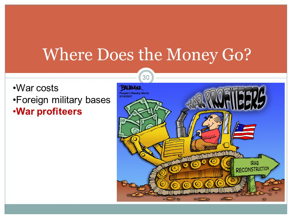 Where Does the Money Go War costs Foreign military bases War profiteers 30
