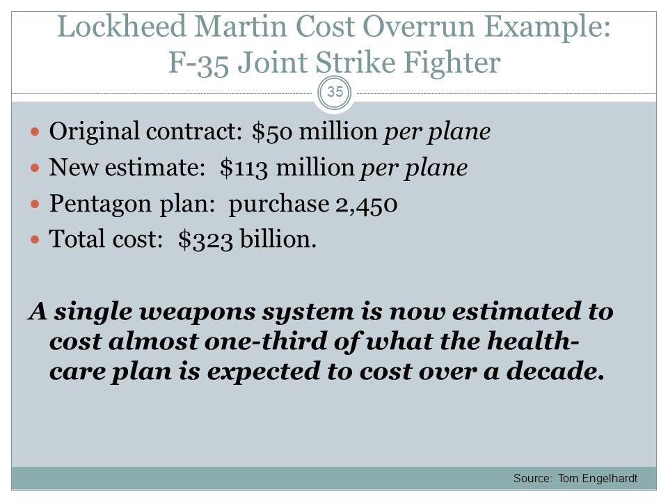 Lockheed Martin Cost Overrun Example: F-35 Joint Strike Fighter Original contract: $5o million per plane New estimate: $113 million per plane Pentagon