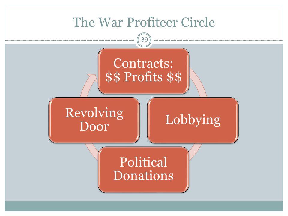 The War Profiteer Circle 39 Contracts: $$ Profits $$ Lobbying Political Donations Revolving Door