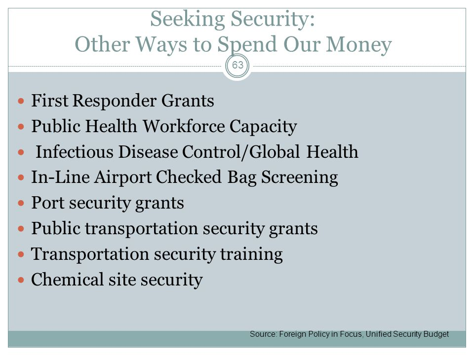 Seeking Security: Other Ways to Spend Our Money First Responder Grants Public Health Workforce Capacity Infectious Disease Control/Global Health In-Line Airport Checked Bag Screening Port security grants Public transportation security grants Transportation security training Chemical site security 63 Source: Foreign Policy in Focus, Unified Security Budget