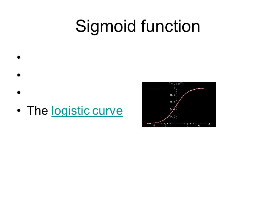 Sigmoid function The logistic curvelogistic curve