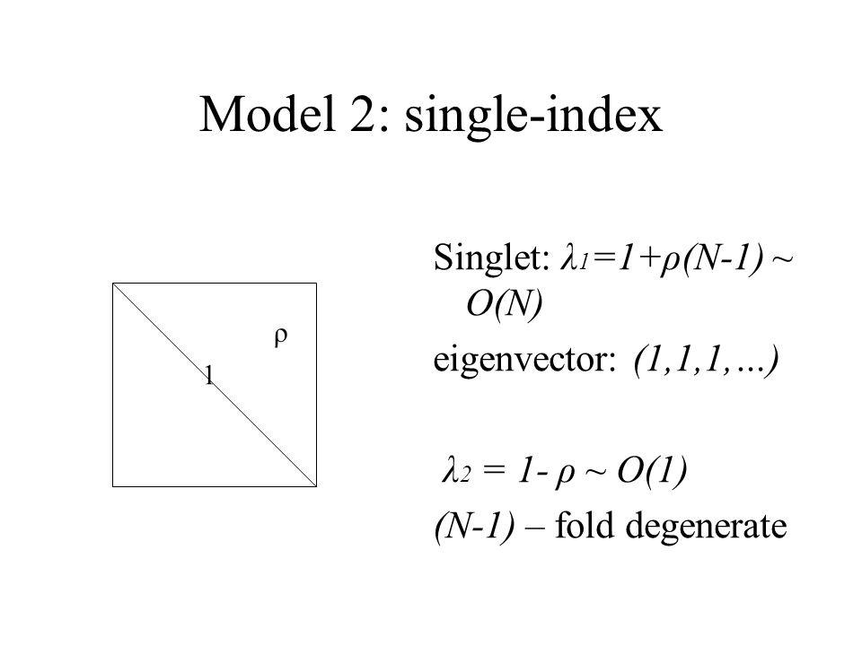 Model 2: single-index Singlet: λ 1 =1+ρ(N-1) ~ O(N) eigenvector: (1,1,1,…) λ 2 = 1- ρ ~ O(1) (N-1) – fold degenerate ρ 1