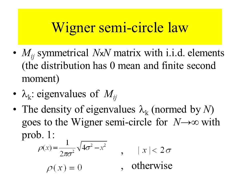 Wigner semi-circle law M ij symmetrical N x N matrix with i.i.d.