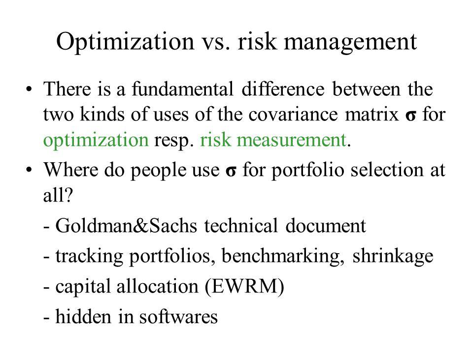 Optimization vs.