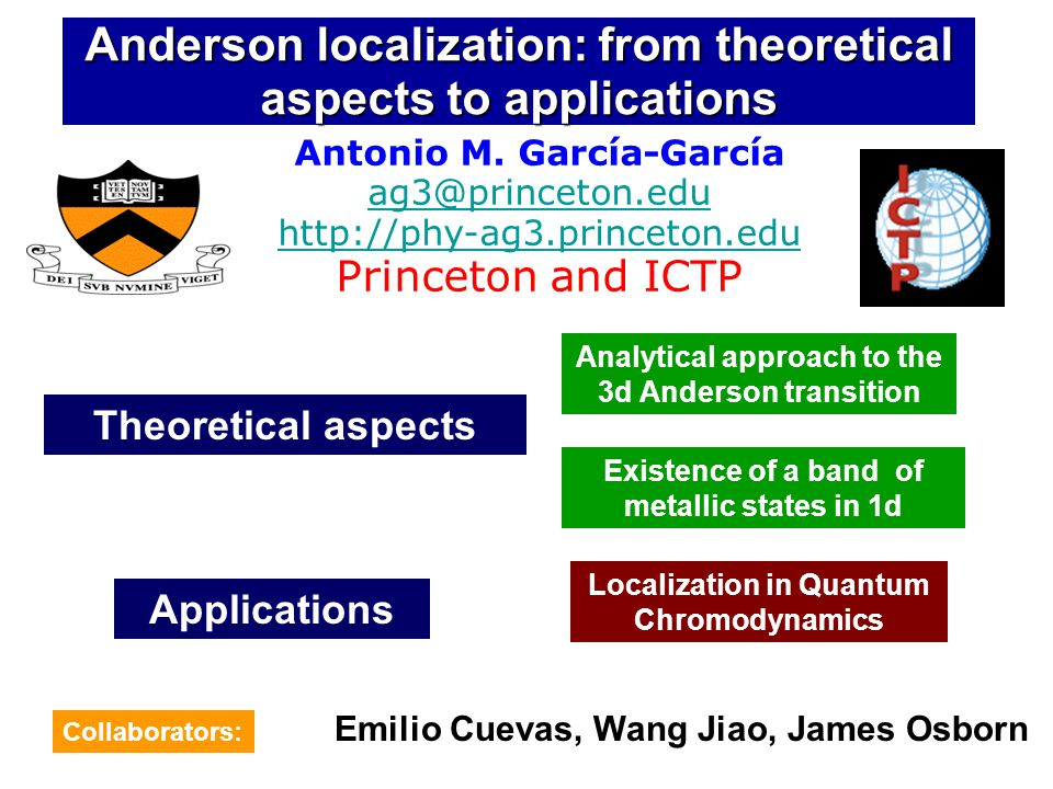 Anderson localization: from theoretical aspects to applications Antonio M.
