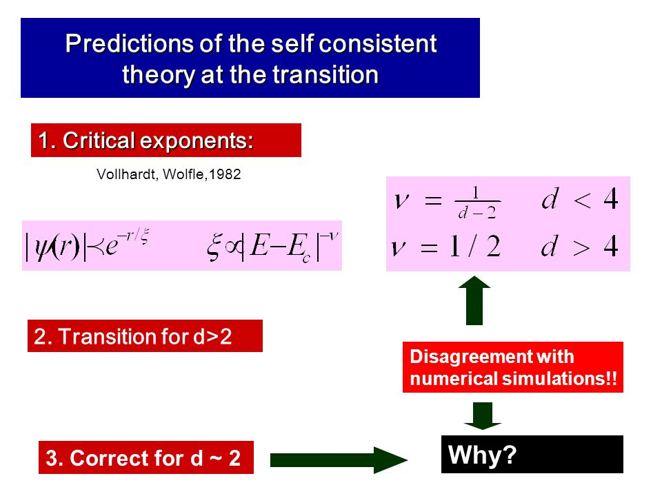 Predictions of the self consistent theory at the transition 1.