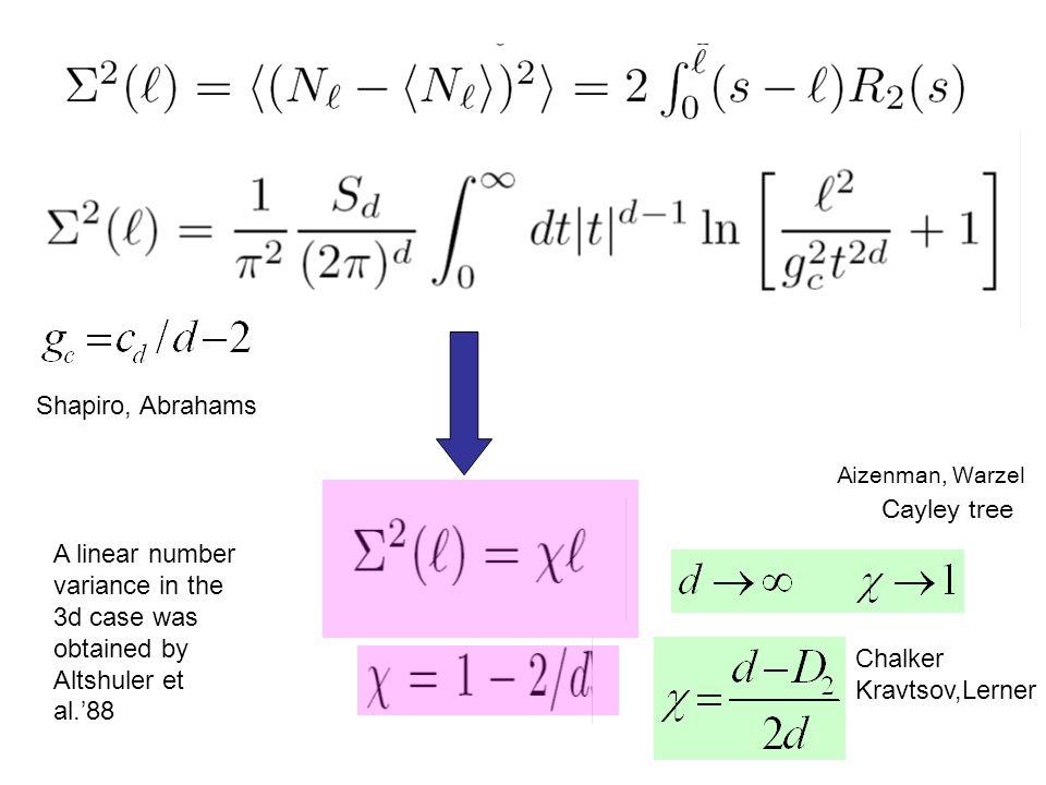 Cayley tree Aizenman, Warzel Chalker Kravtsov,Lerner A linear number variance in the 3d case was obtained by Altshuler et al.'88 Shapiro, Abrahams
