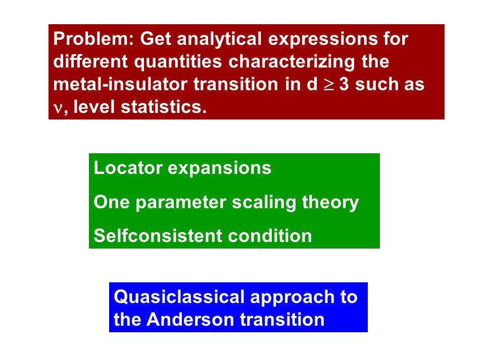 Problem: Get analytical expressions for different quantities characterizing the metal-insulator transition in d  3 such as, level statistics.