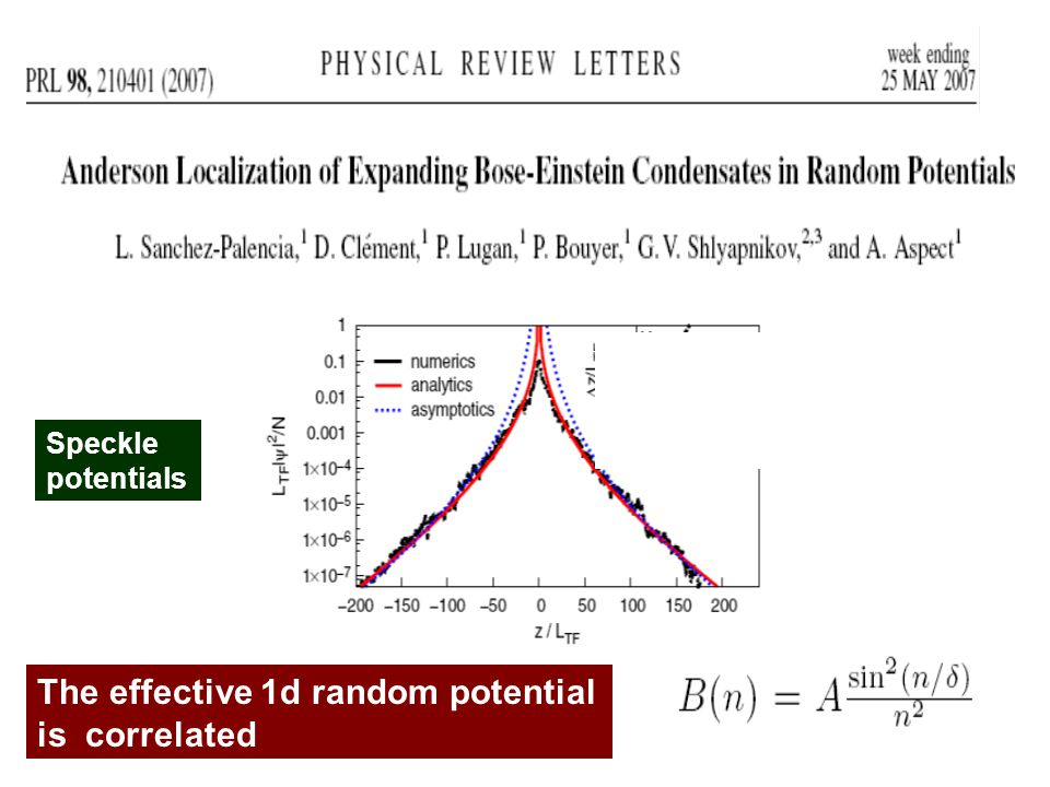 The effective 1d random potential is correlated Speckle potentials tt t