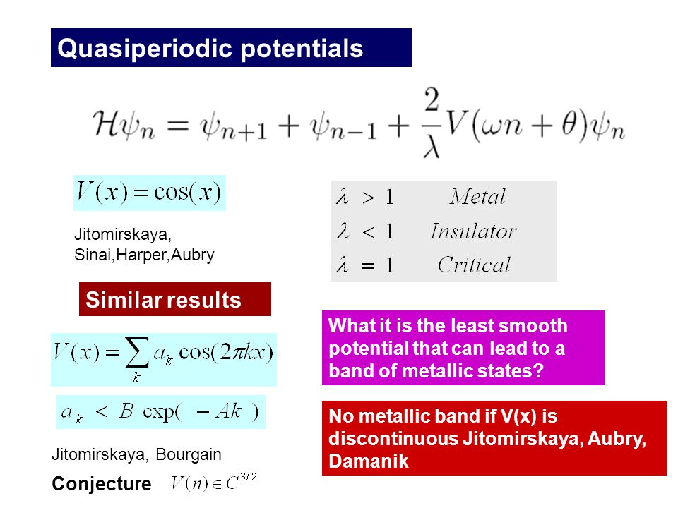 Quasiperiodic potentials Jitomirskaya, Sinai,Harper,Aubry Jitomirskaya, Bourgain What it is the least smooth potential that can lead to a band of metallic states.