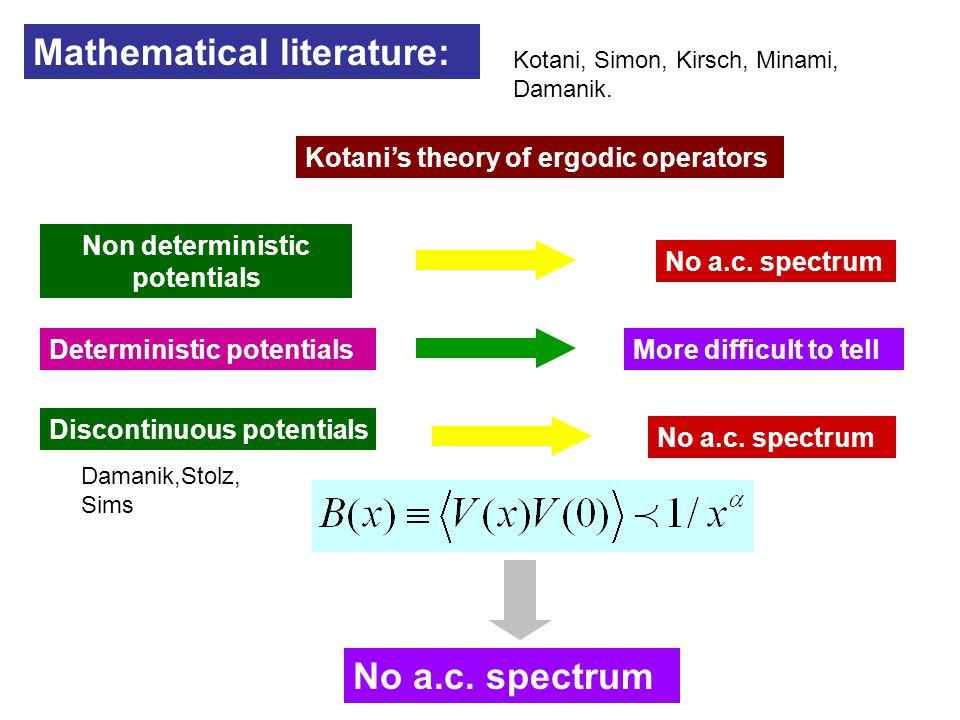 Mathematical literature: Kotani's theory of ergodic operators Non deterministic potentials No a.c. spectrum Deterministic potentialsMore difficult to