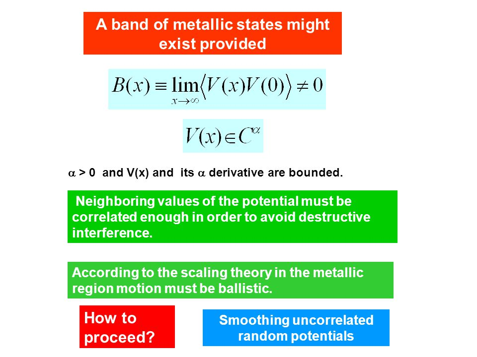 Neighboring values of the potential must be correlated enough in order to avoid destructive interference.  > 0 and V(x) and its  derivative are boun