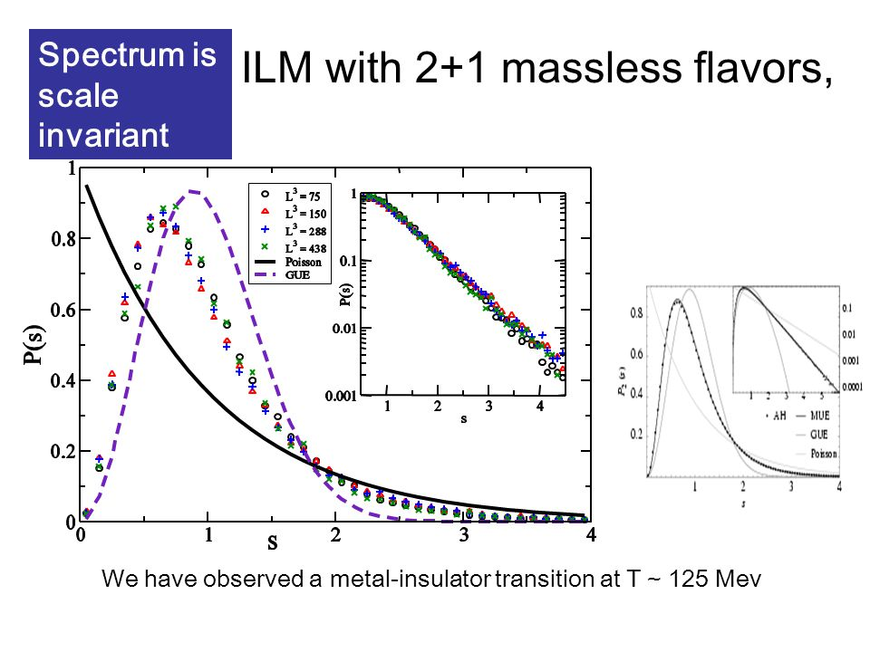 ILM with 2+1 massless flavors, We have observed a metal-insulator transition at T ~ 125 Mev Spectrum is scale invariant
