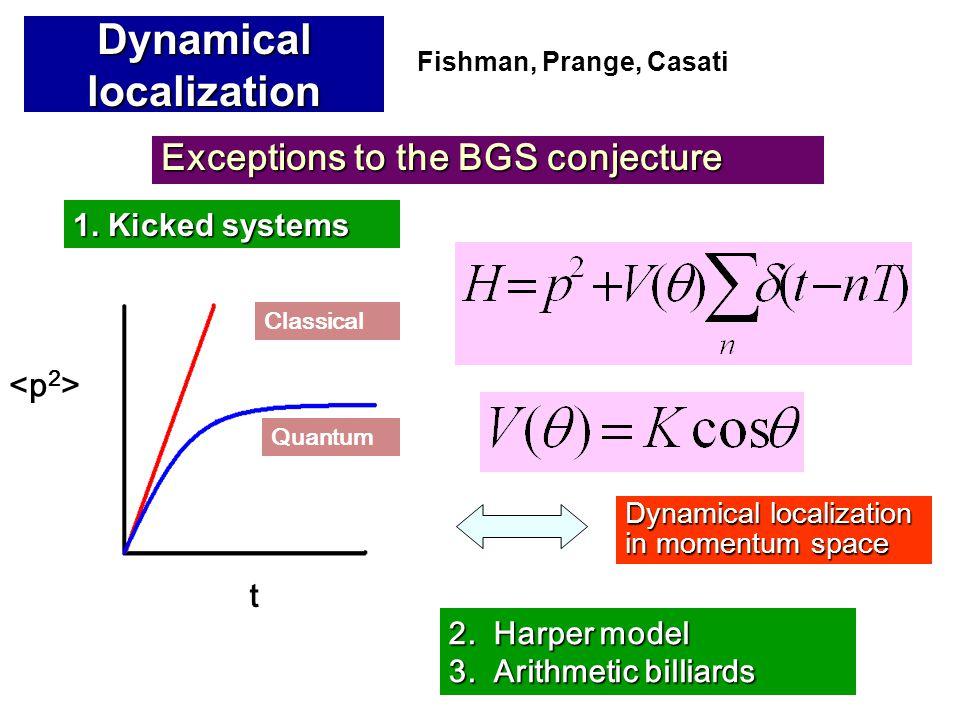 Dynamical localization in momentum space 2.Harper model 3.