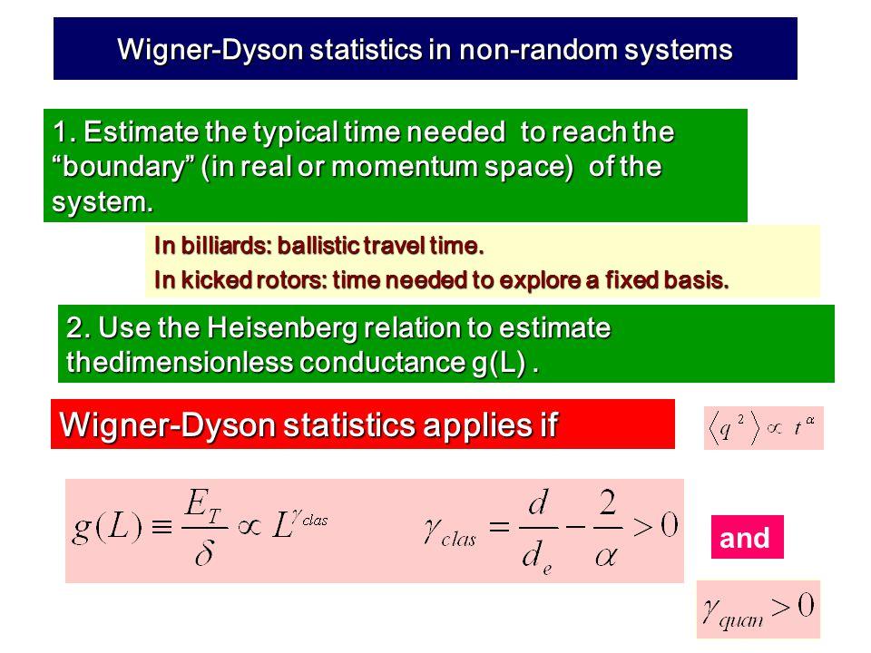 Wigner-Dyson statistics in non-random systems 1.