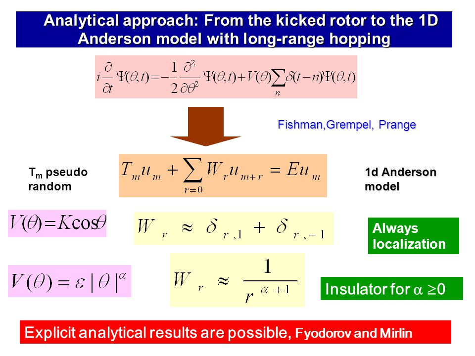 Analytical approach: From the kicked rotor to the 1D Anderson model with long-range hopping Analytical approach: From the kicked rotor to the 1D Anderson model with long-range hopping Explicit analytical results are possible, Fyodorov and Mirlin Insulator for   0 Fishman,Grempel, Prange 1d Anderson model T m pseudo random Always localization