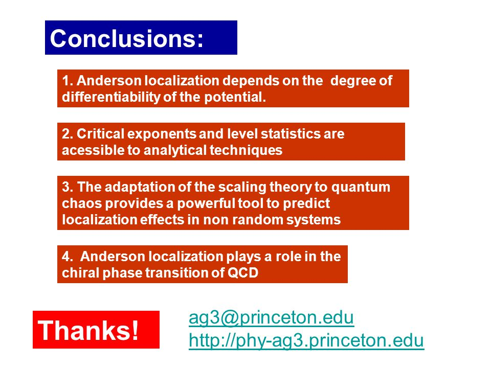 Conclusions: 1. Anderson localization depends on the degree of differentiability of the potential.