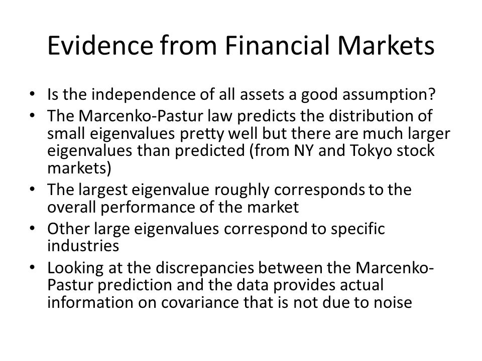 Evidence from Financial Markets Is the independence of all assets a good assumption.