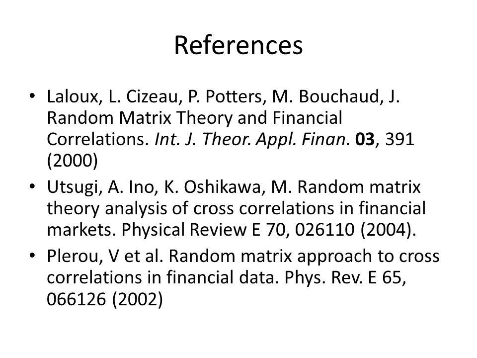 References Laloux, L. Cizeau, P. Potters, M. Bouchaud, J.