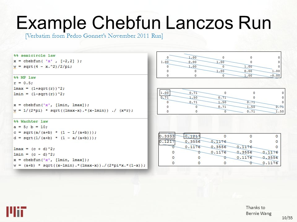 10/55 Example Chebfun Lanczos Run [Verbatim from Pedro Gonnet's November 2011 Run] Thanks to Bernie Wang