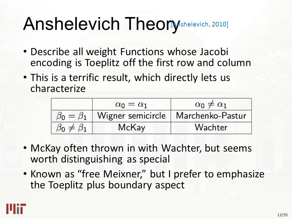 13/55 Anshelevich Theory Describe all weight Functions whose Jacobi encoding is Toeplitz off the first row and column This is a terrific result, which directly lets us characterize McKay often thrown in with Wachter, but seems worth distinguishing as special Known as free Meixner, but I prefer to emphasize the Toeplitz plus boundary aspect [Anshelevich, 2010]