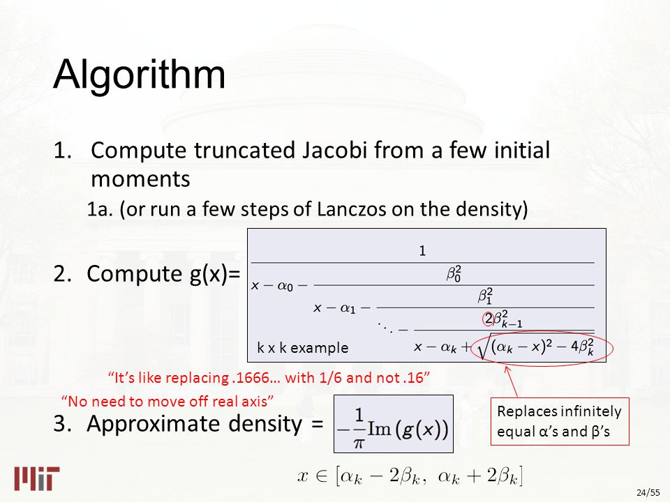 24/55 Algorithm 1.Compute truncated Jacobi from a few initial moments 1a.
