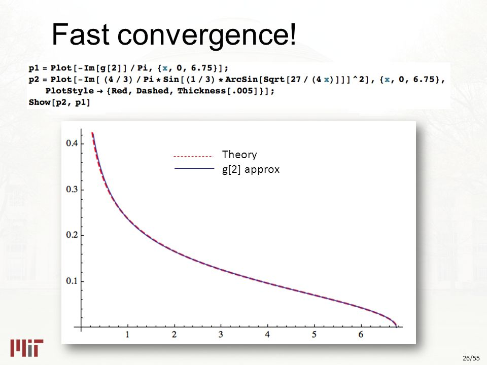 26/55 Fast convergence! Theory g[2] approx
