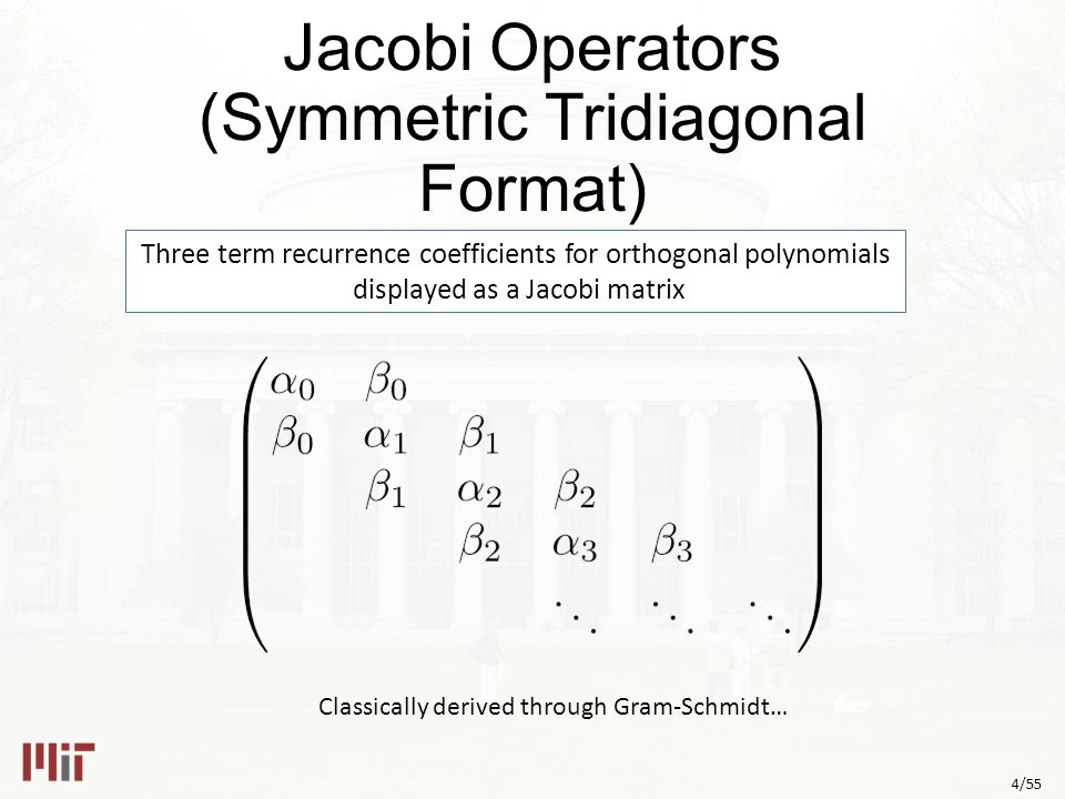 4/55 Jacobi Operators (Symmetric Tridiagonal Format) Three term recurrence coefficients for orthogonal polynomials displayed as a Jacobi matrix Classically derived through Gram-Schmidt…