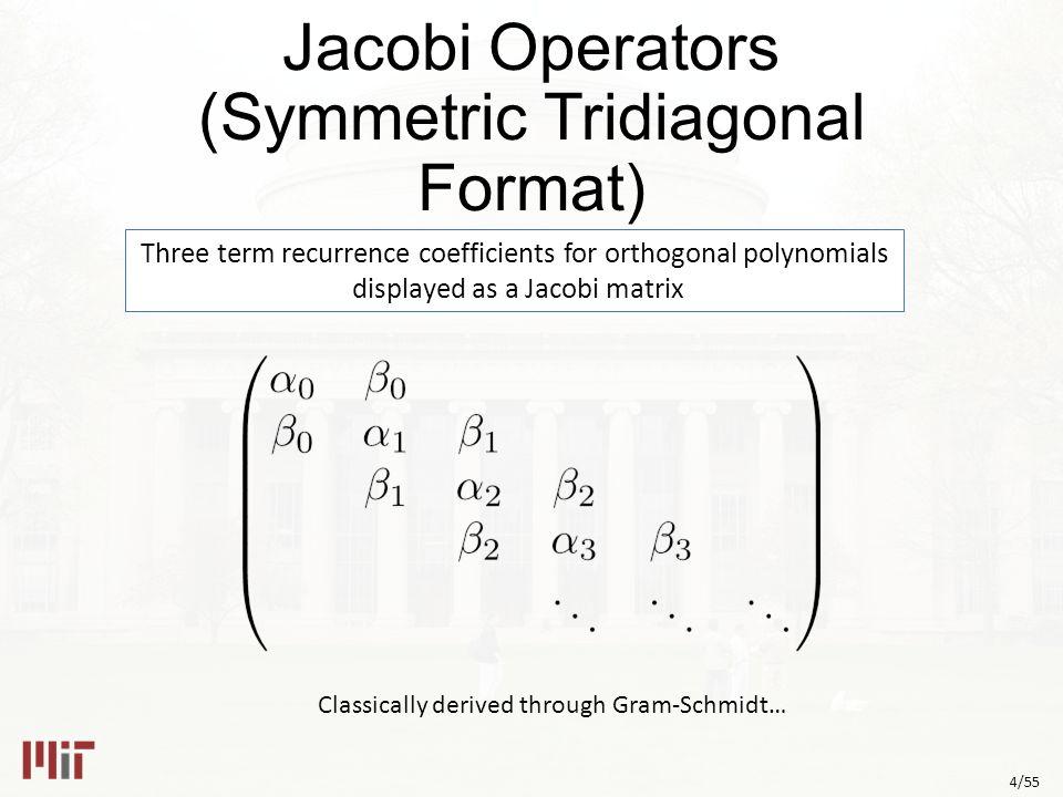 5/55 Encoding Probability Densities Density Moments Random Number Generator BetaRand(3/2,3/2) (then x  4x-2) Fourier Transform (Bessel Function) [Wigner] Cauchy Transform R-Transform Orthogonal Polynomials (Cheybshev of 2 nd kind) Jacobi Matrix