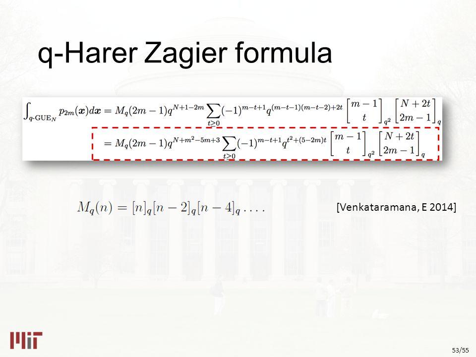 53/55 q-Harer Zagier formula [Venkataramana, E 2014]