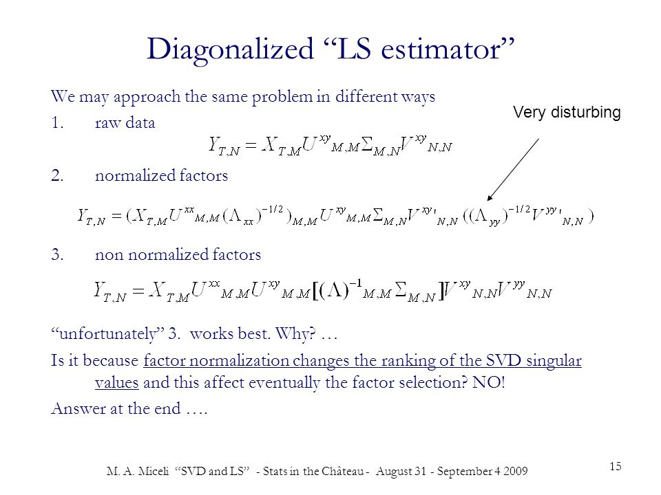 """M. A. Miceli """"SVD and LS"""" - Stats in the Château - August 31 - September 4 2009 15 Diagonalized """"LS estimator"""" We may approach the same problem in dif"""