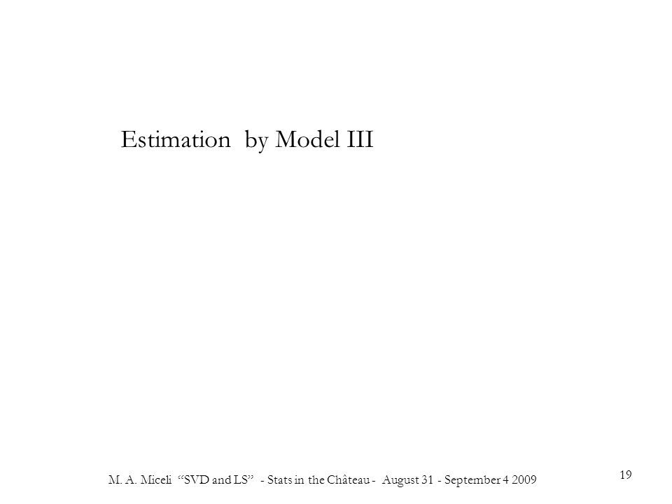 """M. A. Miceli """"SVD and LS"""" - Stats in the Château - August 31 - September 4 2009 19 Estimation by Model III"""