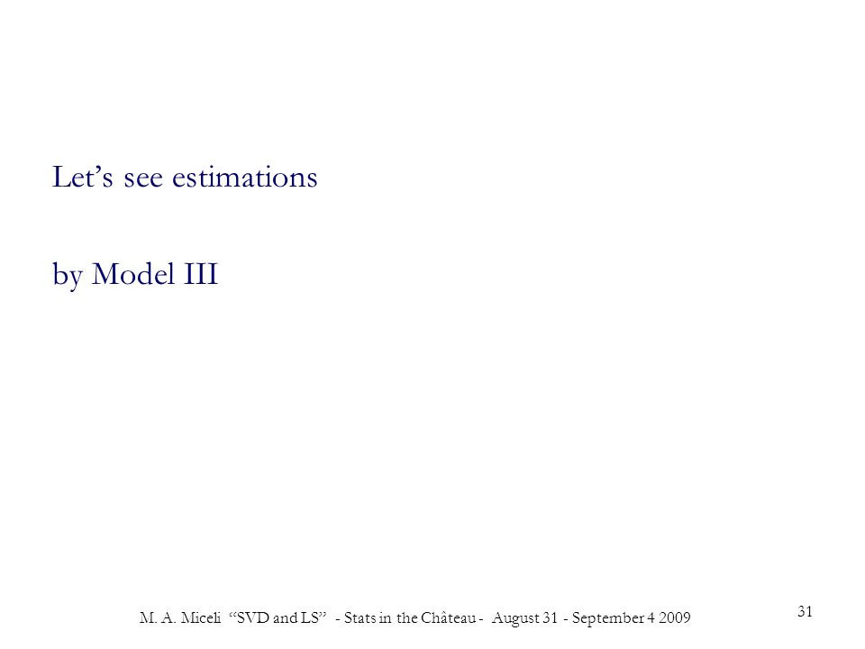 """M. A. Miceli """"SVD and LS"""" - Stats in the Château - August 31 - September 4 2009 31 Let's see estimations by Model III"""