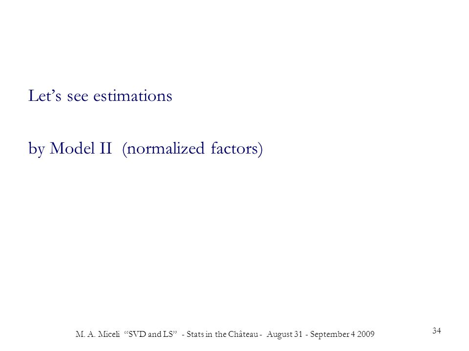"""M. A. Miceli """"SVD and LS"""" - Stats in the Château - August 31 - September 4 2009 34 Let's see estimations by Model II (normalized factors)"""