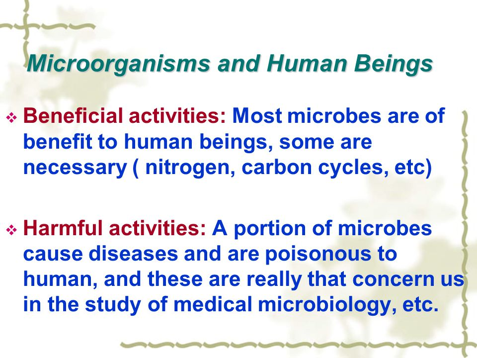 Microorganisms and Human Beings  Beneficial activities: Most microbes are of benefit to human beings, some are necessary ( nitrogen, carbon cycles, etc)  Harmful activities: A portion of microbes cause diseases and are poisonous to human, and these are really that concern us in the study of medical microbiology, etc.