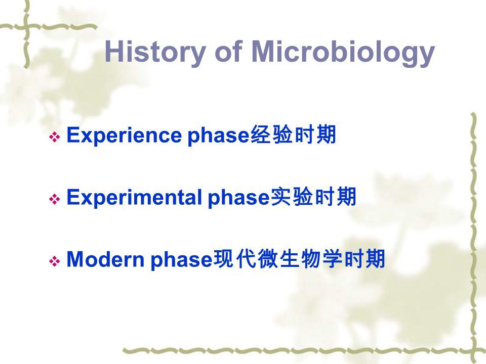 History of Microbiology  Experience phase 经验时期  Experimental phase 实验时期  Modern phase 现代微生物学时期