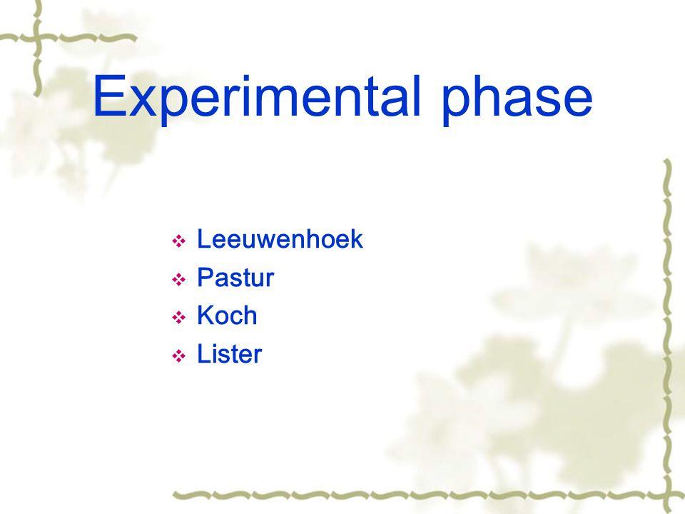 Experimental phase  Leeuwenhoek  Pastur  Koch  Lister