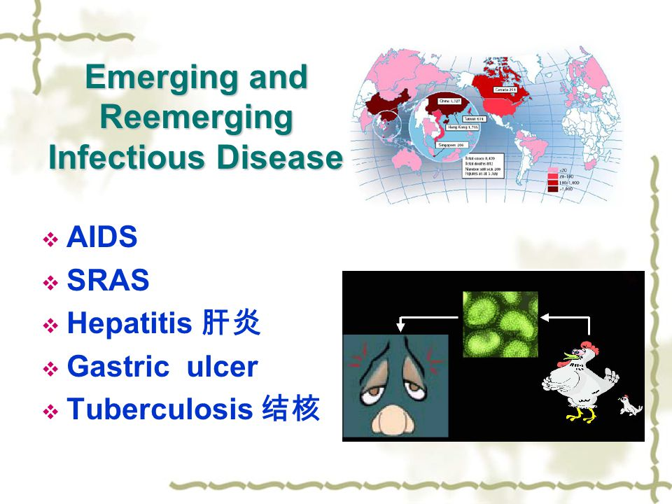 Emerging and Reemerging Infectious Disease  AIDS  SRAS  Hepatitis 肝炎  Gastric ulcer  Tuberculosis 结核