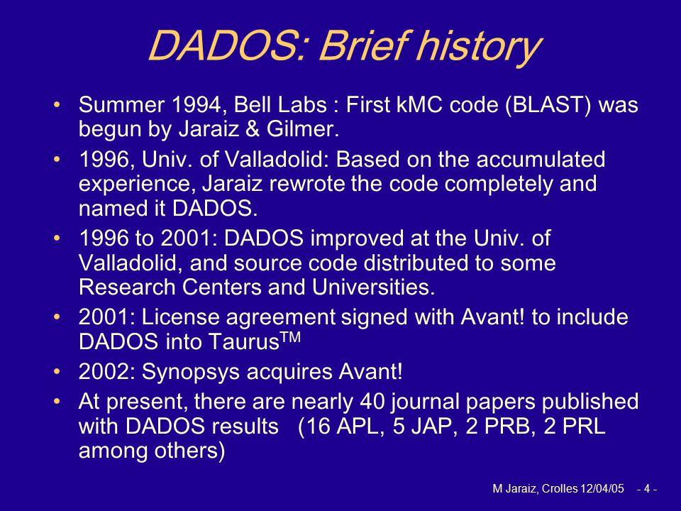 M Jaraiz, Crolles 12/04/05 - 4 - DADOS: Brief history Summer 1994, Bell Labs : First kMC code (BLAST) was begun by Jaraiz & Gilmer. 1996, Univ. of Val