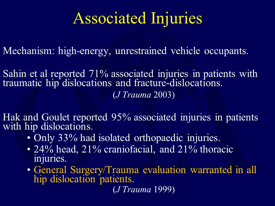 Associated Injuries Mechanism: high-energy, unrestrained vehicle occupants. Sahin et al reported 71% associated injuries in patients with traumatic hi