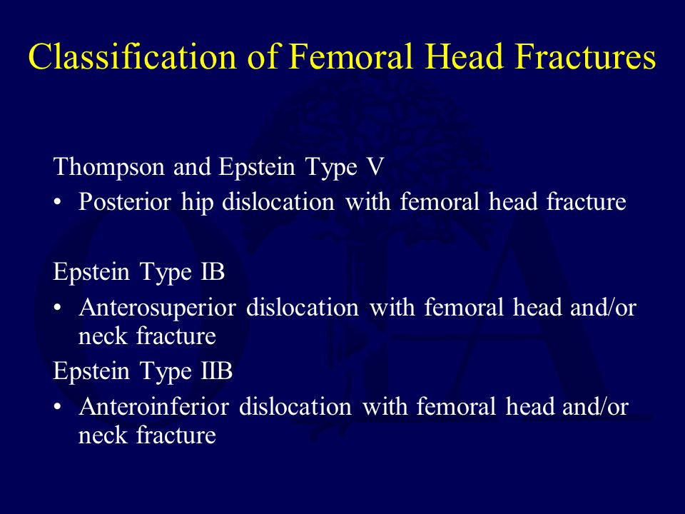 Classification of Femoral Head Fractures Thompson and Epstein Type V Posterior hip dislocation with femoral head fracture Epstein Type IB Anterosuperi