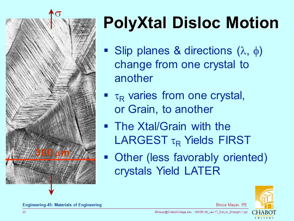 BMayer@ChabotCollege.edu ENGR-45_Lec-17_DisLoc_Strength-1.ppt 20 Bruce Mayer, PE Engineering-45: Materials of Engineering PolyXtal Disloc Motion  Sli