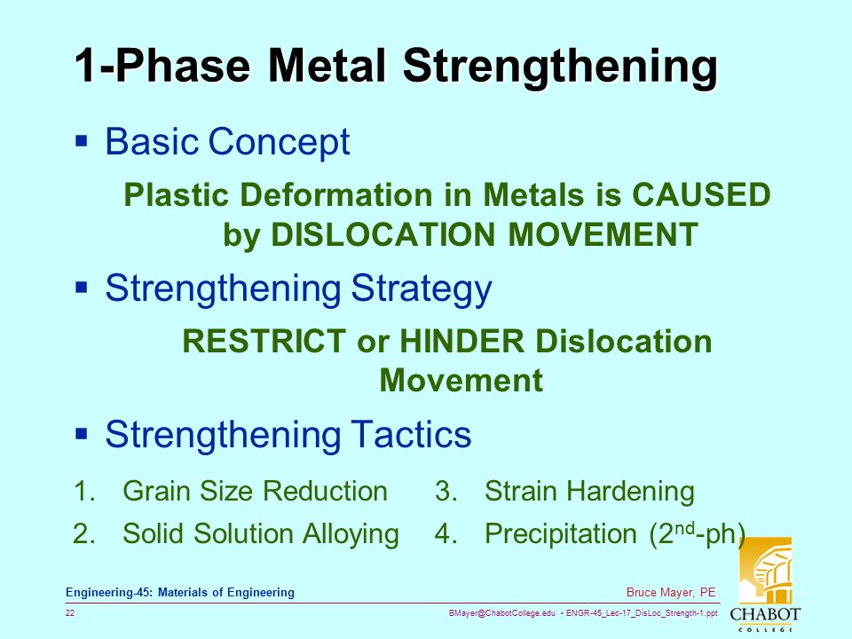 BMayer@ChabotCollege.edu ENGR-45_Lec-17_DisLoc_Strength-1.ppt 22 Bruce Mayer, PE Engineering-45: Materials of Engineering 1-Phase Metal Strengthening