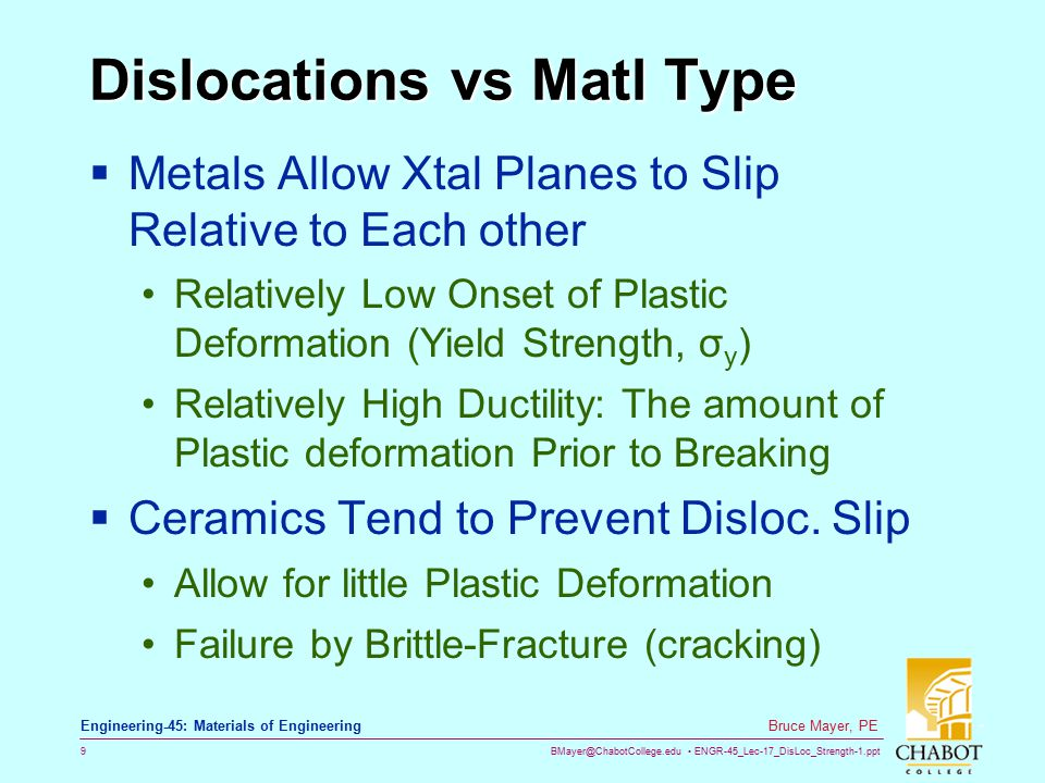 BMayer@ChabotCollege.edu ENGR-45_Lec-17_DisLoc_Strength-1.ppt 9 Bruce Mayer, PE Engineering-45: Materials of Engineering Dislocations vs Matl Type  M