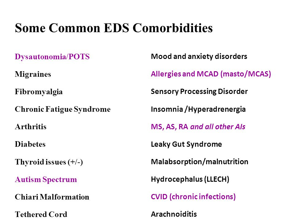 Some Common EDS Comorbidities Dysautonomia/POTS Migraines Fibromyalgia Chronic Fatigue Syndrome Arthritis Diabetes Thyroid issues (+/-) Autism Spectru