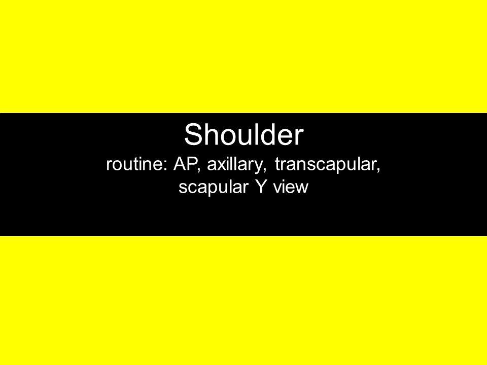 Shoulder routine: AP, axillary, transcapular, scapular Y view
