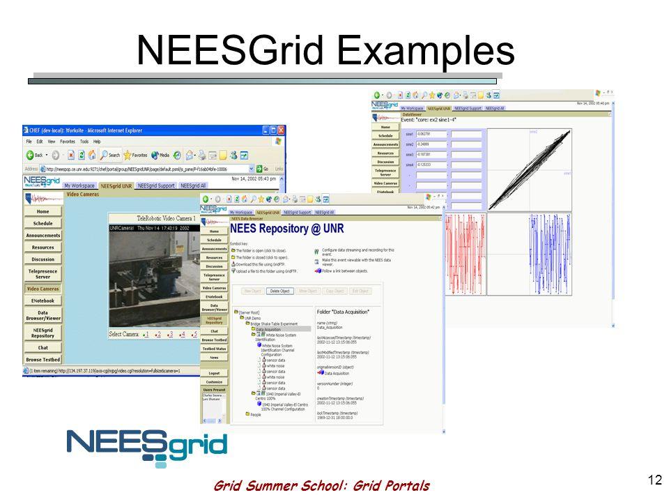 Grid Summer School: Grid Portals 11 NEESGrid Components