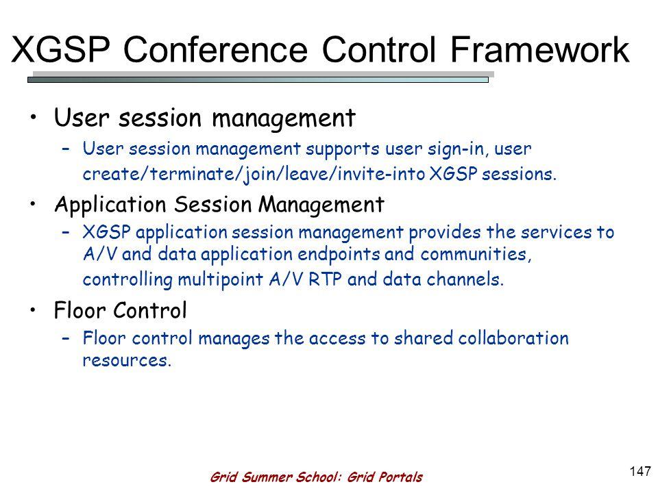 Grid Summer School: Grid Portals 146 XGSP Conference Control Framework