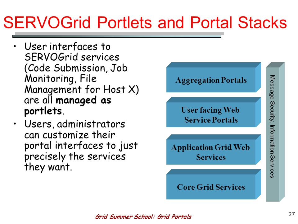 Grid Summer School: Grid Portals 26 Application Grid Web Services AGWS are designed to make scientific applications (i.e.